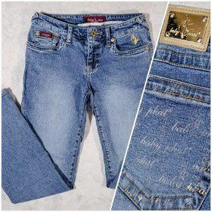 Baby Phat Gold Embellished Spandex-Blend Jeans